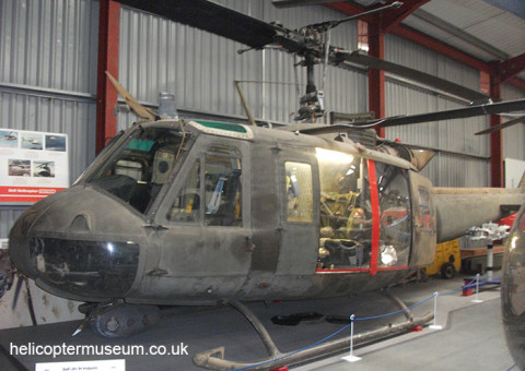 Bell UH1H Huey helicopter on display at the Helicopter Museum in the UK